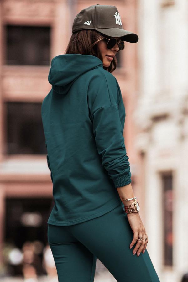 Komplet dresowy bluza z kapturem i spodnie LEXA butelkowa zieleń