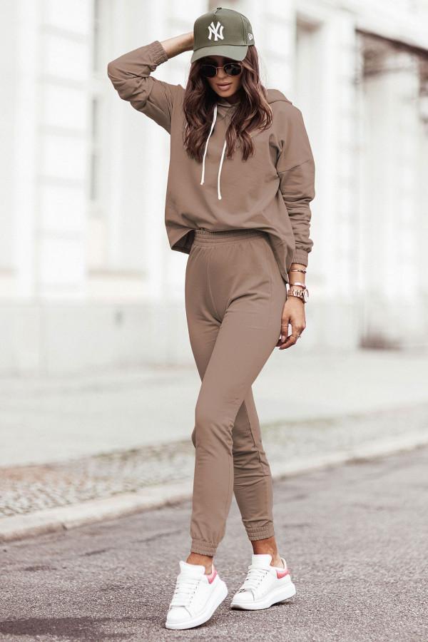 Komplet dresowy bluza z kapturem i spodnie LEXA brąz