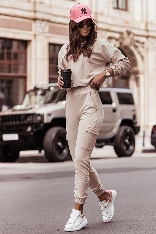 Komplet dresowy bluza i spodnie z kieszeniami KALA beż