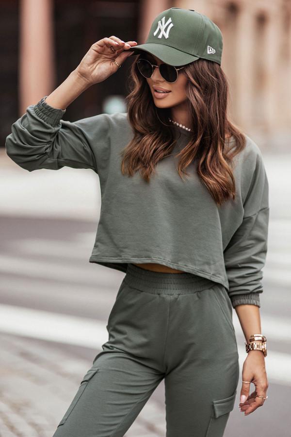 Komplet dresowy bluza i spodnie z kieszeniami KALA khaki 1