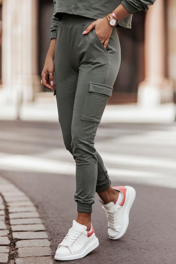 Komplet dresowy bluza i spodnie z kieszeniami KALA khaki 2