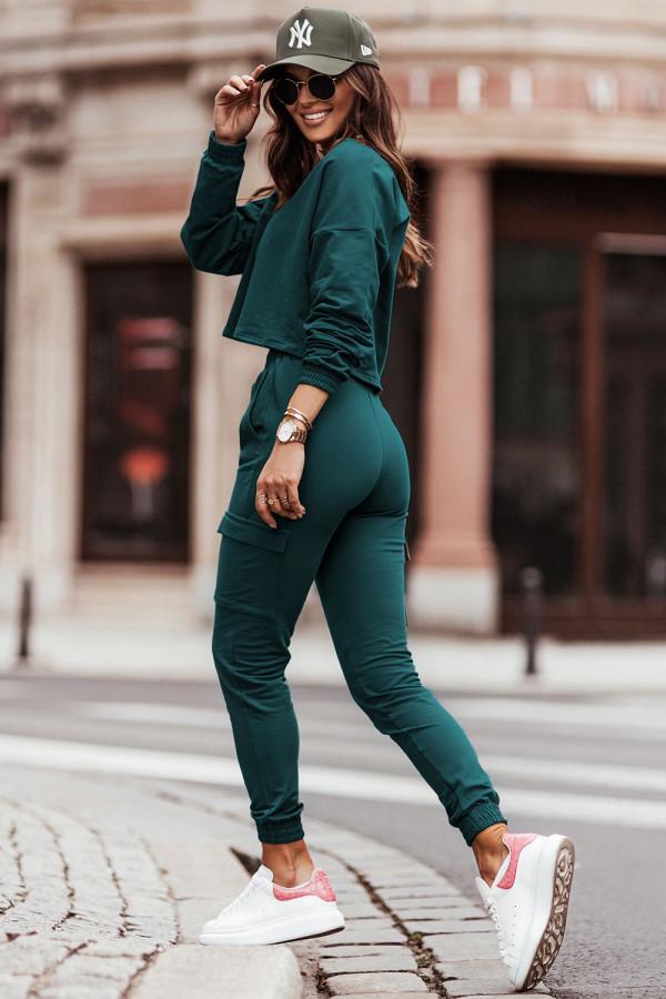 Komplet dresowy bluza i spodnie z kieszeniami KALA butelkowa zieleń