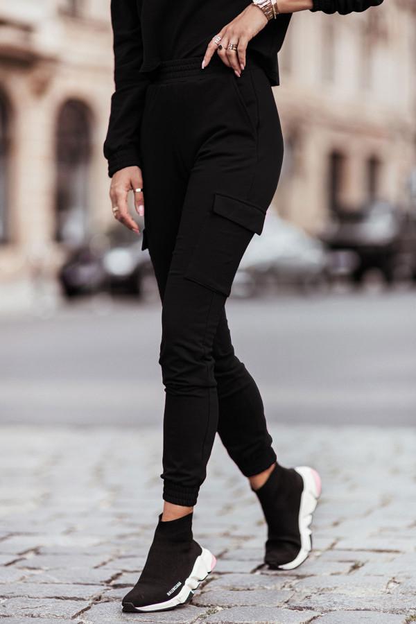 Komplet dresowy bluza i spodnie z kieszeniami KALA czerń 1
