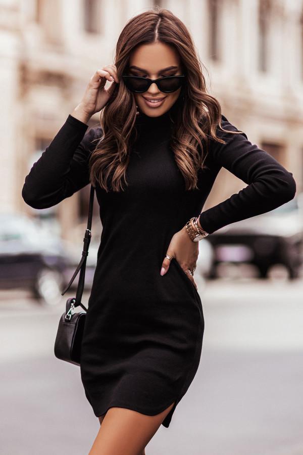 Sukienka basic z długim rękawem i stójką MARINESSA czerń