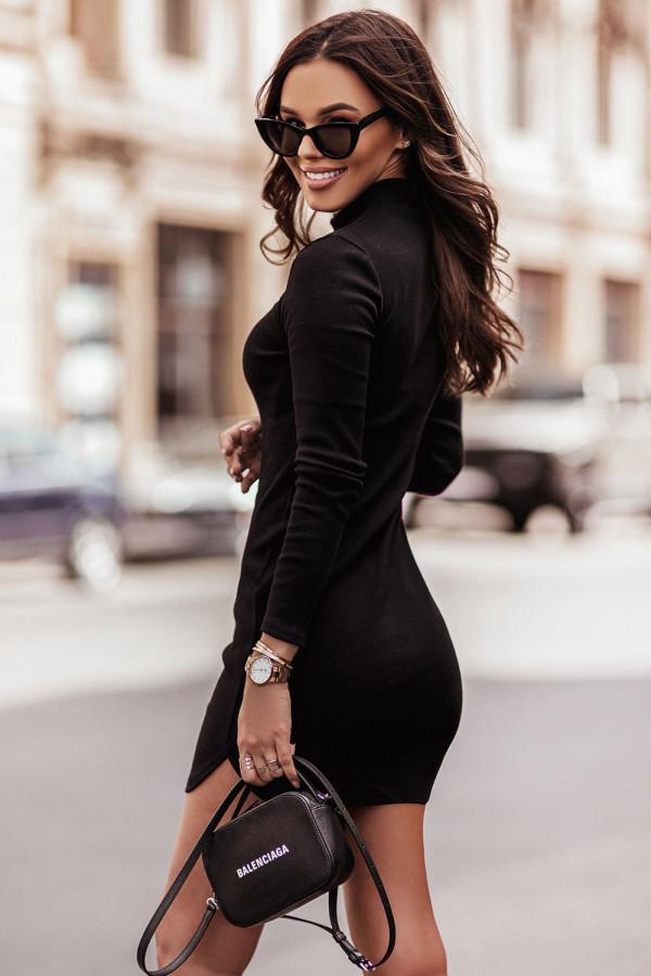 Sukienka basic z długim rękawem i stójką MARINESSA czerń 1