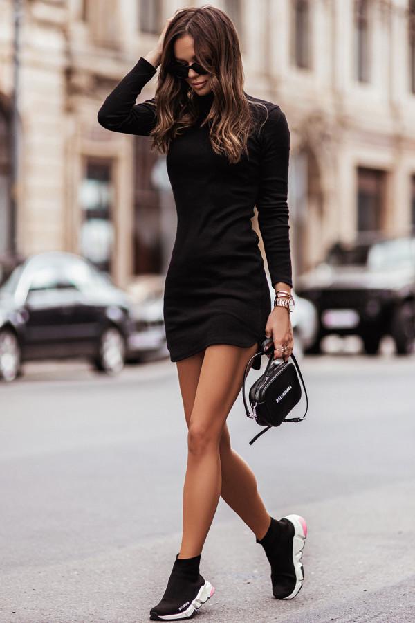 Sukienka basic z długim rękawem i stójką MARINESSA czerń 2