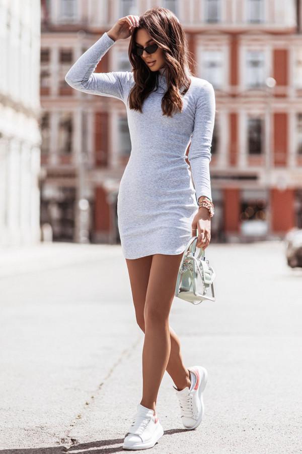 Sukienka basic z długim rękawem i stójką MARINESSA szary 1