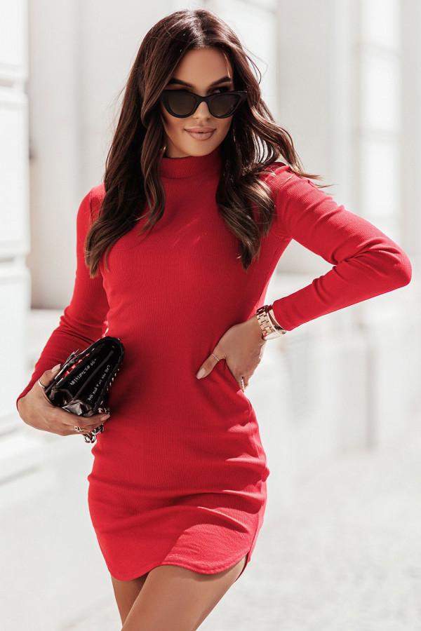 Sukienka basic z długim rękawem i stójką MARINESSA czerwień