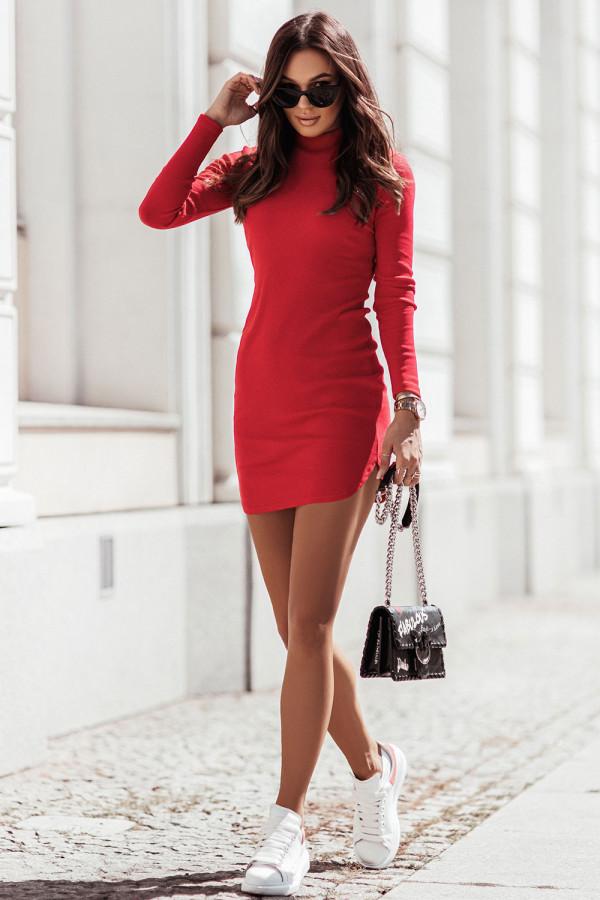 Sukienka basic z długim rękawem i stójką MARINESSA czerwień 2