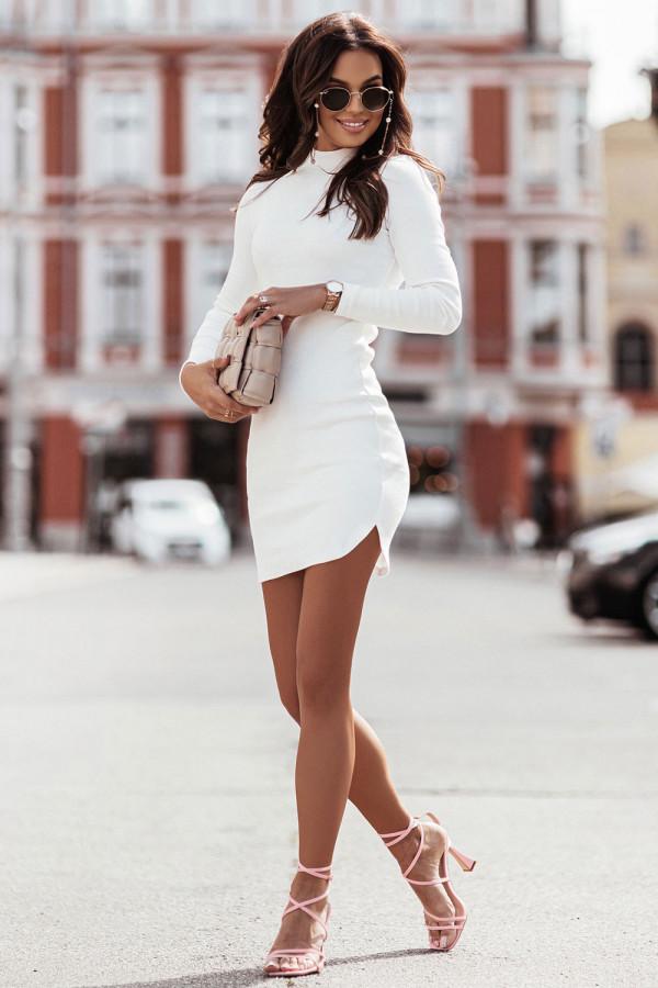 Sukienka basic z długim rękawem i stójką MARINESSA ecru 1