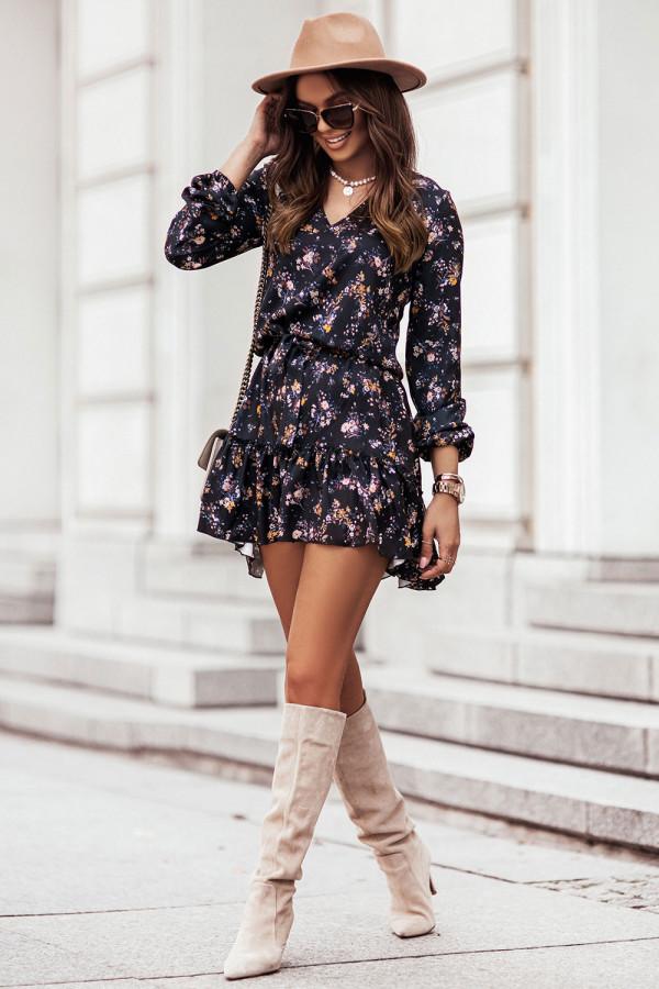 Sukienka z dekoltem V i falbaną w kwiaty RENEE czerń