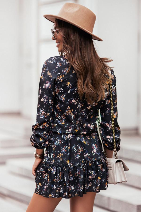 Sukienka z dekoltem V i falbaną w kwiaty RENEE czerń 2