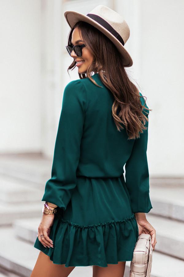 Sukienka z dekoltem V i falbaną gładka RENEE butelkowa zieleń 1