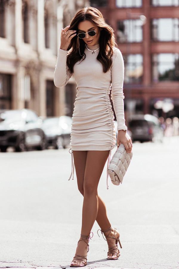Sukienka basic prążek z marszczeniem NASTIA beż 3