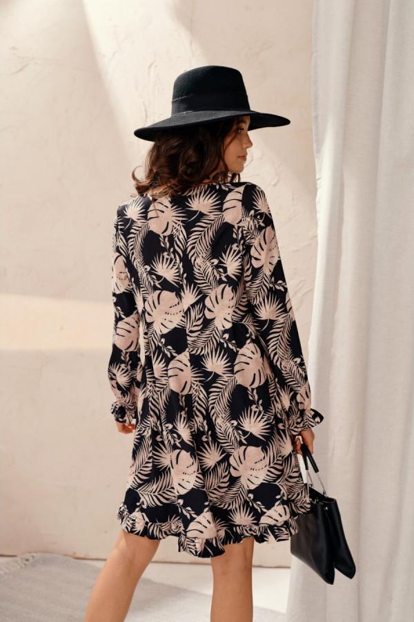 Sukienka trapezowa z falbaną w palmowe liście JOAN 2