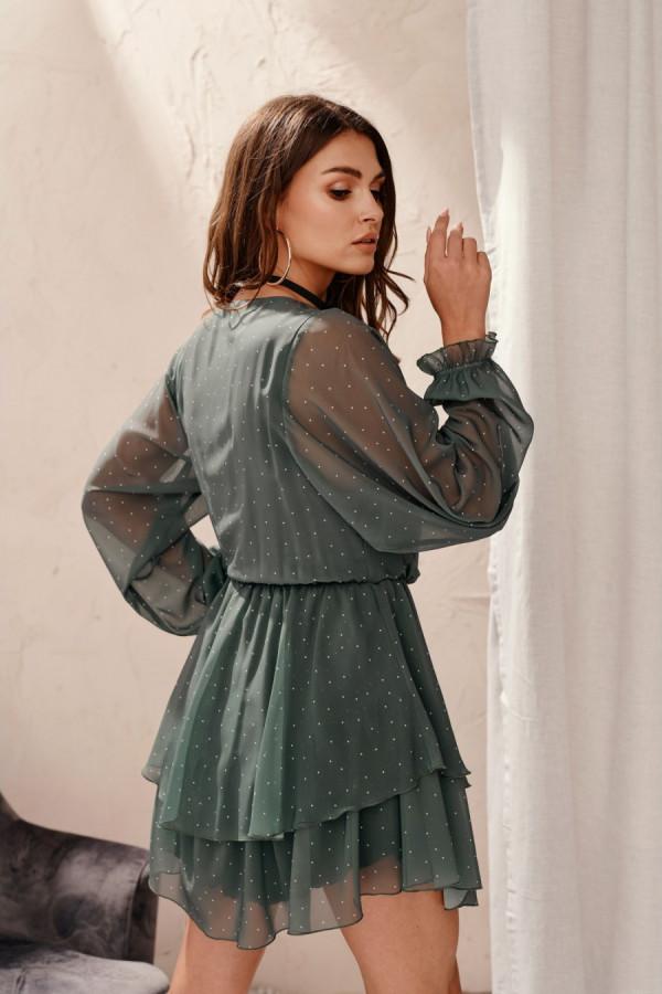 Szyfonowa mini sukienka w kropki ALDONA 1
