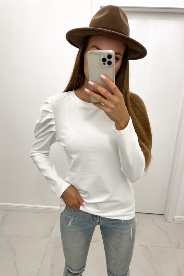 Bluzka bawełniana z marszczeniami na ramionach CAMA biel