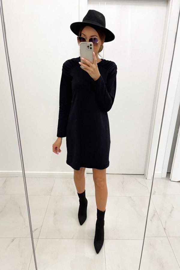 Sukienka z marszczeniami na ramionach NICOLET czerń 1