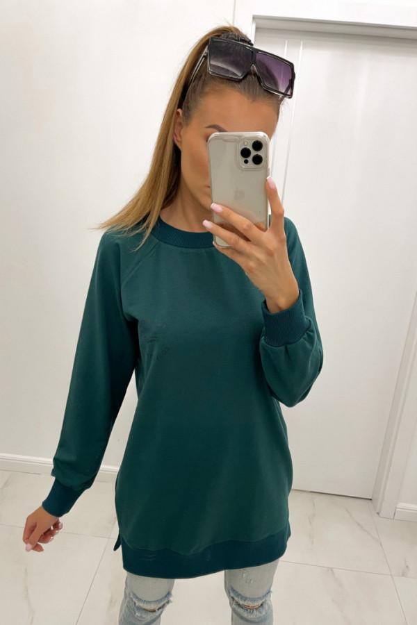 Bluza basic o dłuższym kroju z logo TMC zieleń