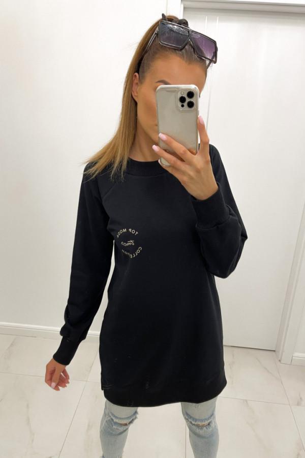 Bluza basic o dłuższym kroju z logo TMC czerń