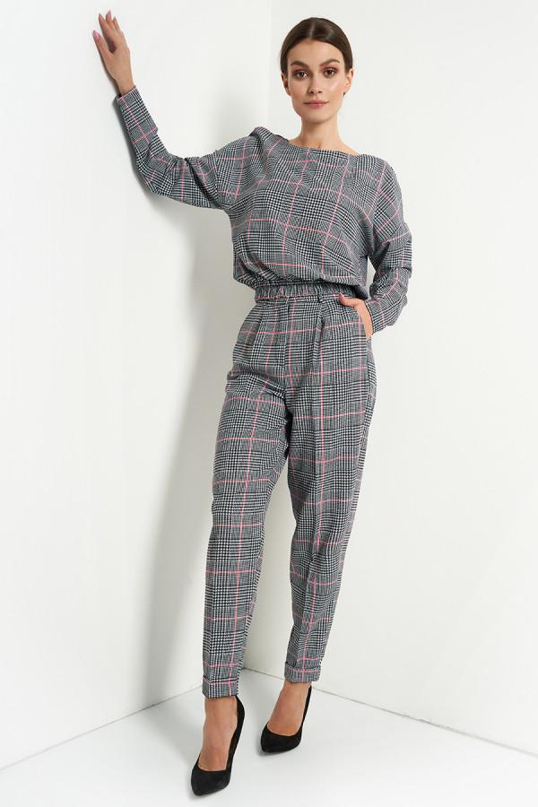 Komplet damski spodnie i bluzka w kratę VIVIENNE