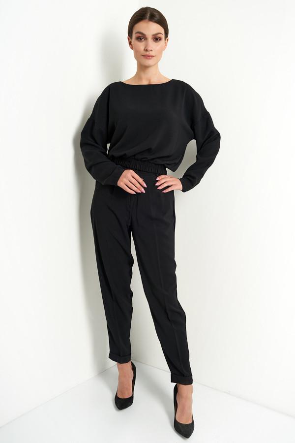 Komplet damski spodnie i bluzka gładki VIVIENNE czerń