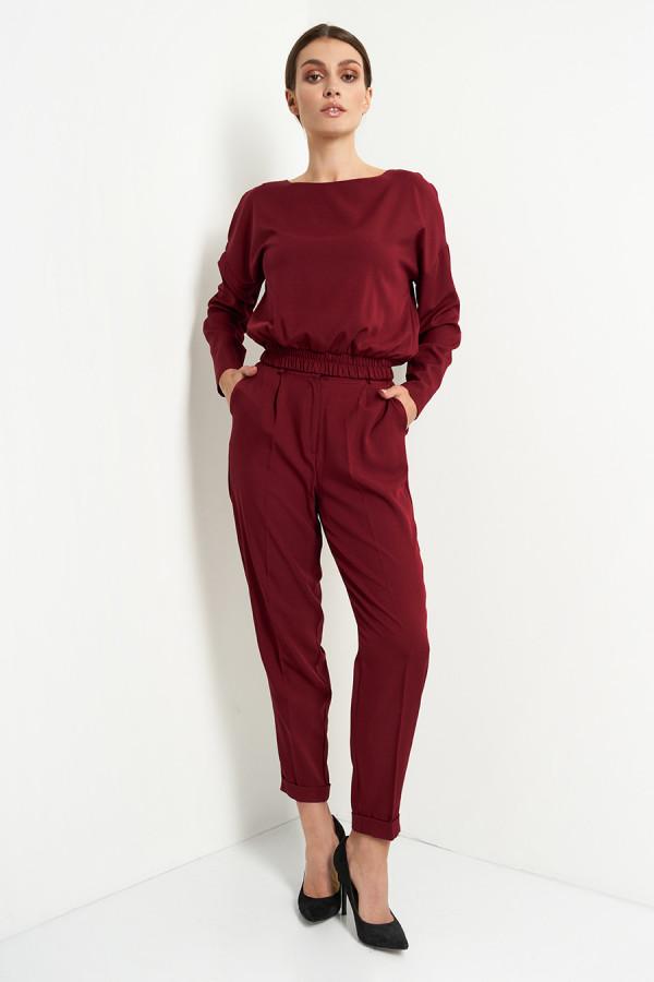 Komplet damski spodnie i bluzka gładki VIVIENNE bordo