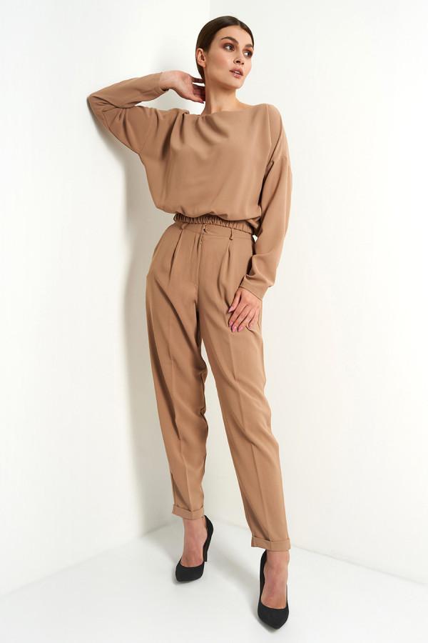 Komplet damski spodnie i bluzka gładki VIVIENNE beż