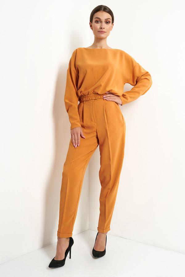 Komplet damski spodnie i bluzka gładki VIVIENNE kamel