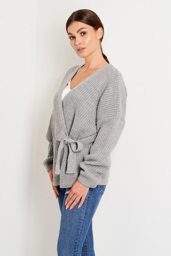 Sweter z wiązaniem OLGA szary