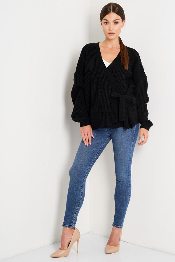Sweter z wiązaniem OLGA czerń