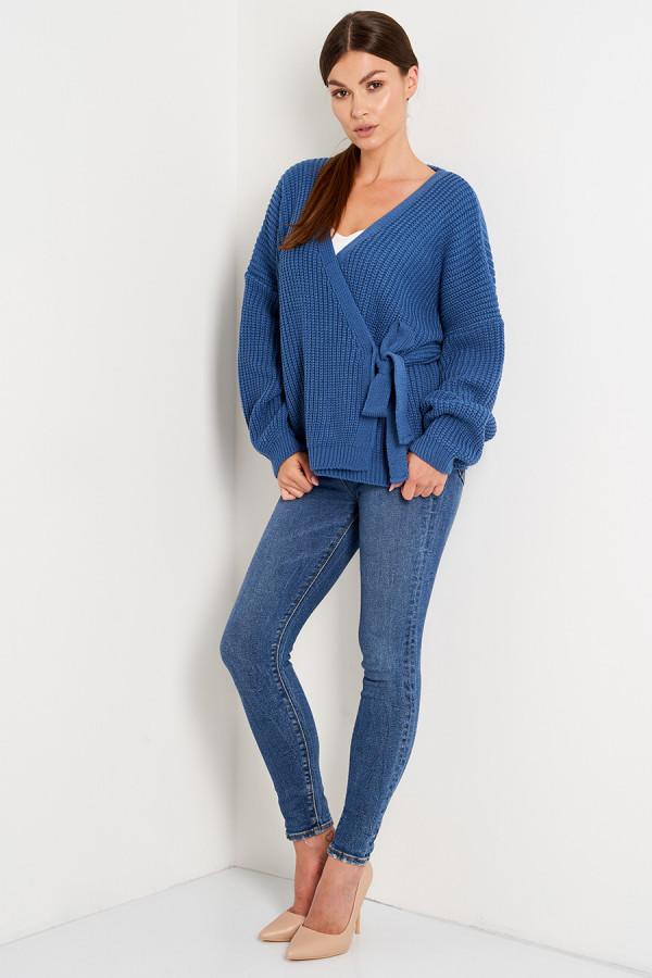 Sweter z wiązaniem OLGA niebieski