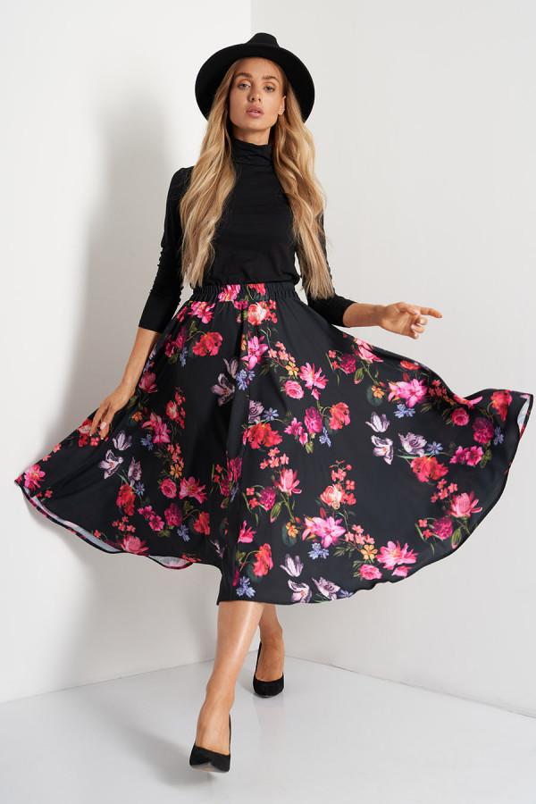 Spódnica midi w kwiaty LOREN czerń