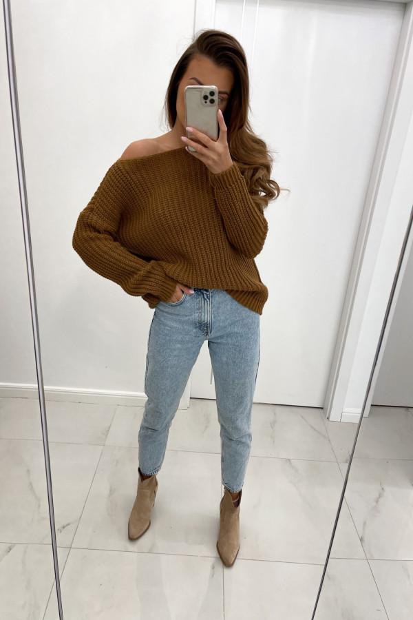 Sweter z dodatkiem wełny NELA brąz