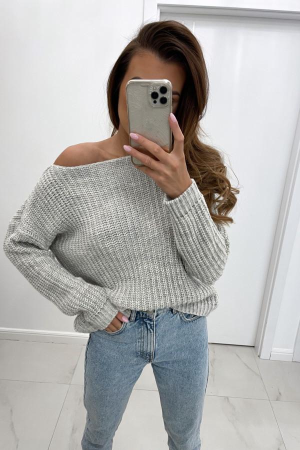 Sweter z dodatkiem wełny NELA szary