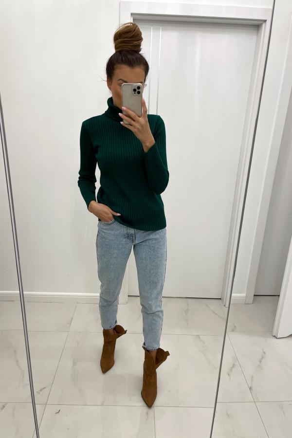 Sweter z golfem CORNELIA butelkowa zieleń