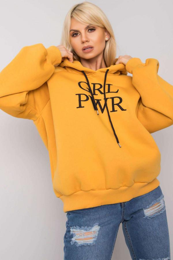 Bluza z kapturem z napisem GRL PWR żółta