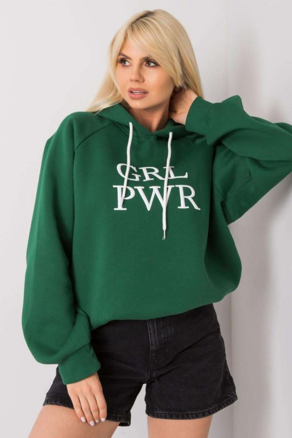 Bluza z kapturem z napisem GRL PWR zieleń