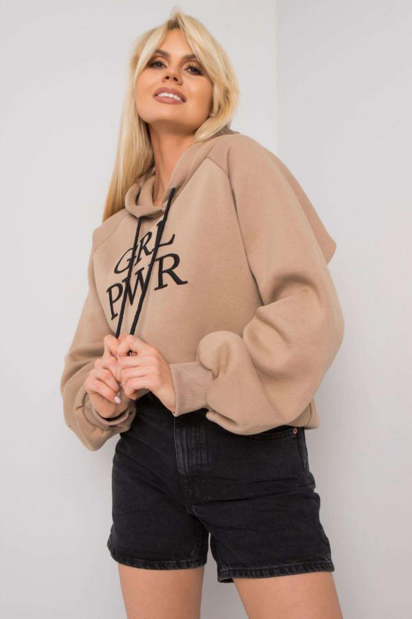Bluza z kapturem z napisem GRL PWR beż