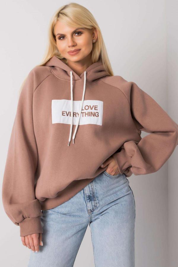 Bluza z kapturem z napisem LOVE EVERYTHING jasny brąz
