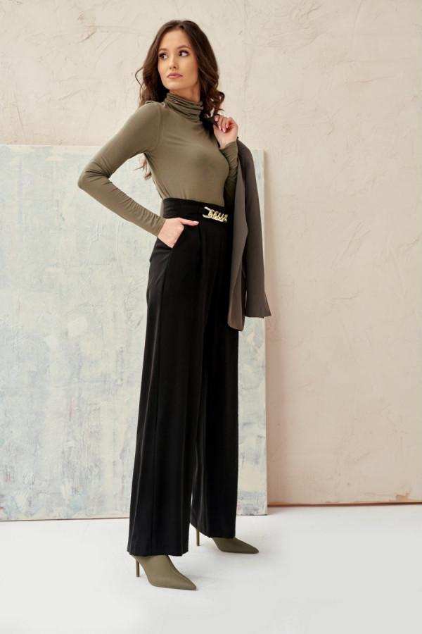 Spodnie z wysokim stanem i łańcuchem CHAIN czerń