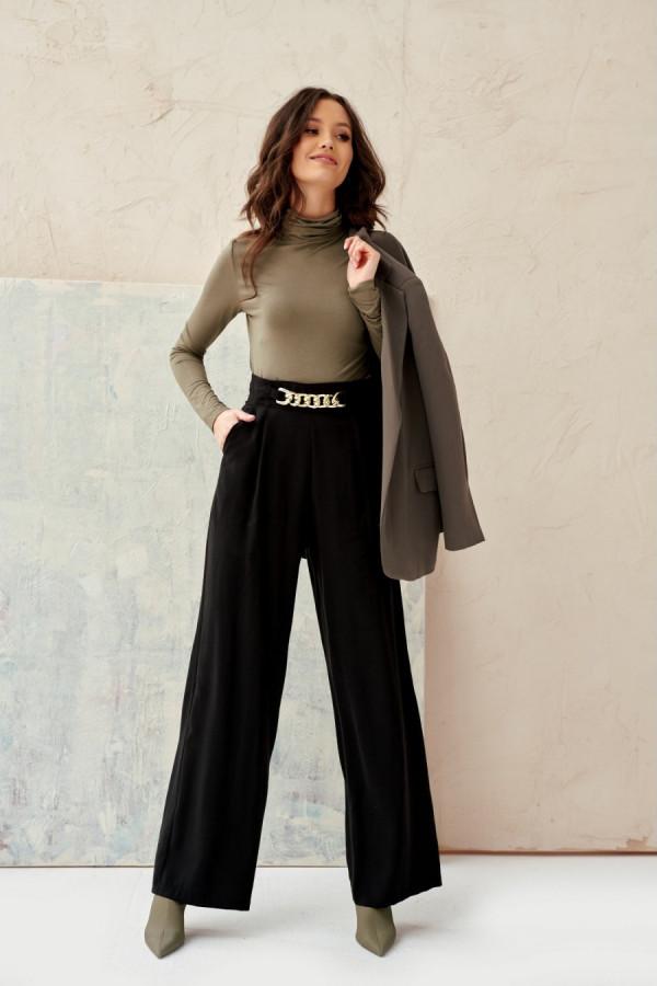 Spodnie z wysokim stanem i łańcuchem CHAIN czerń 1
