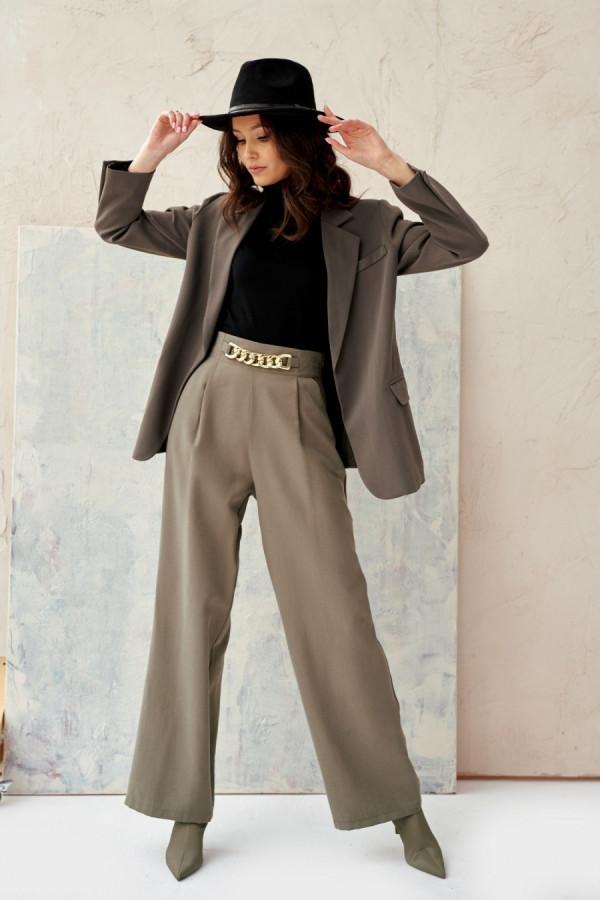 Spodnie z wysokim stanem i łańcuchem CHAIN