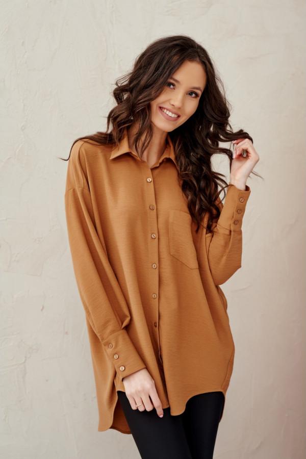 Koszula damska oversize z długim rękawem LIZZY kamel