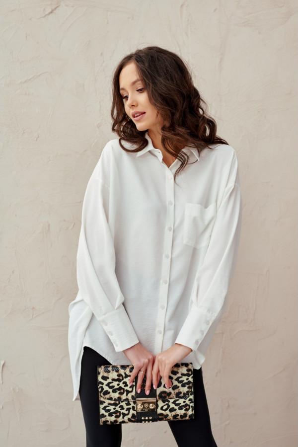Koszula damska oversize z długim rękawem LIZZY biel
