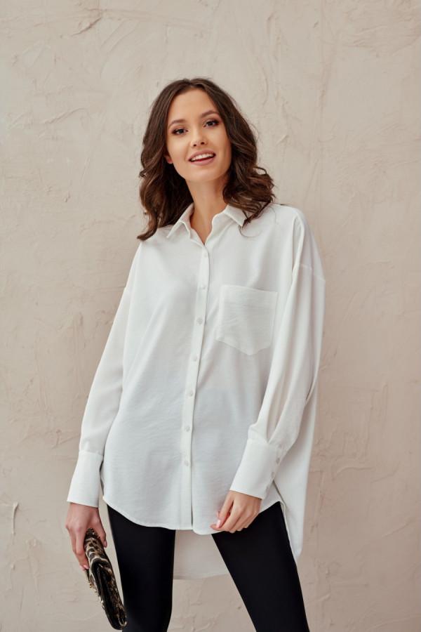 Koszula damska oversize z długim rękawem LIZZY biel 1
