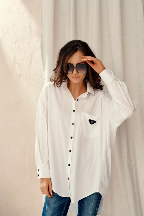 Koszula damska oversize z naszywką LEONA