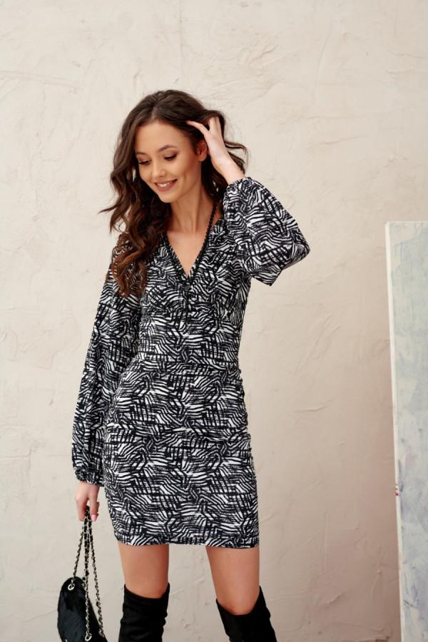 Sukienka mini z bufiastymi rękawami ANELLE
