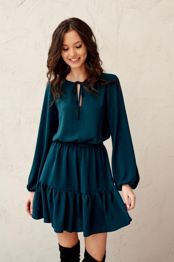 Sukienka mini z troczkiem SARSA zieleń