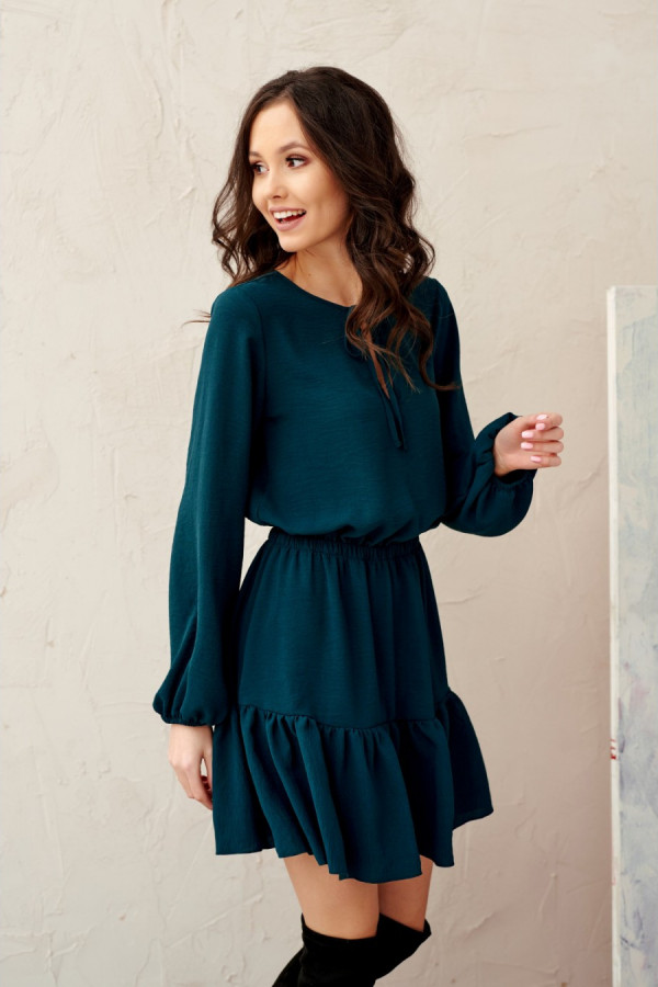 Sukienka mini z troczkiem SARSA zieleń 1